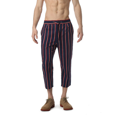 Navy Country Club Stripe Drawstring Trouser - parke & ronen