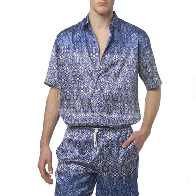 Sunflower Blue Printed Satin Oversize PJ S/S Shirt - parke & ronen