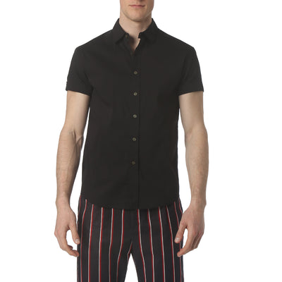 Black Solid Stretch Poplin Short Sleeve Shirt - parke & ronen