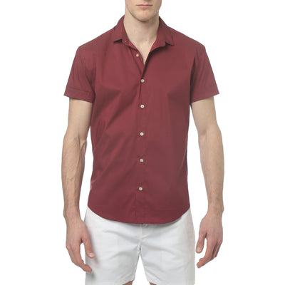 Brick Red Solid Stretch S/S Button Up - parke & ronen