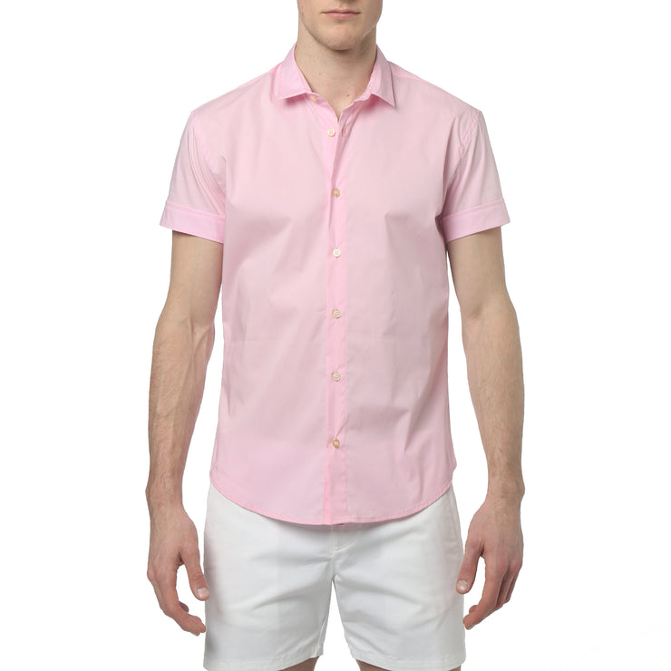 Candy Pink Solid Stretch S/S Button Up - parke & ronen