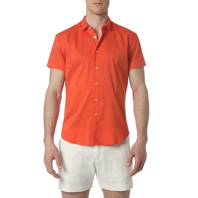 Fire Orange Solid Stretch Poplin Short Sleeve Shirt - parke & ronen