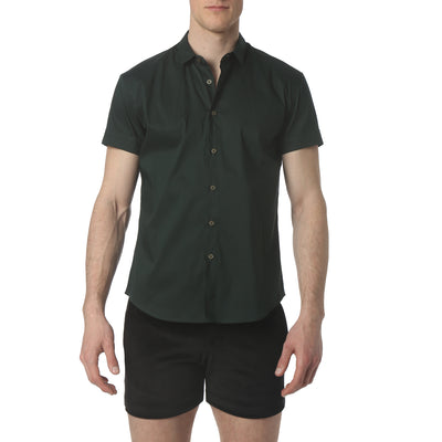 Forest Green Solid Stretch Poplin Short Sleeve Shirt - parke & ronen