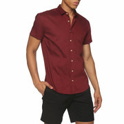 Maroon Solid Stretch Poplin Short Sleeve Shirt - parke & ronen