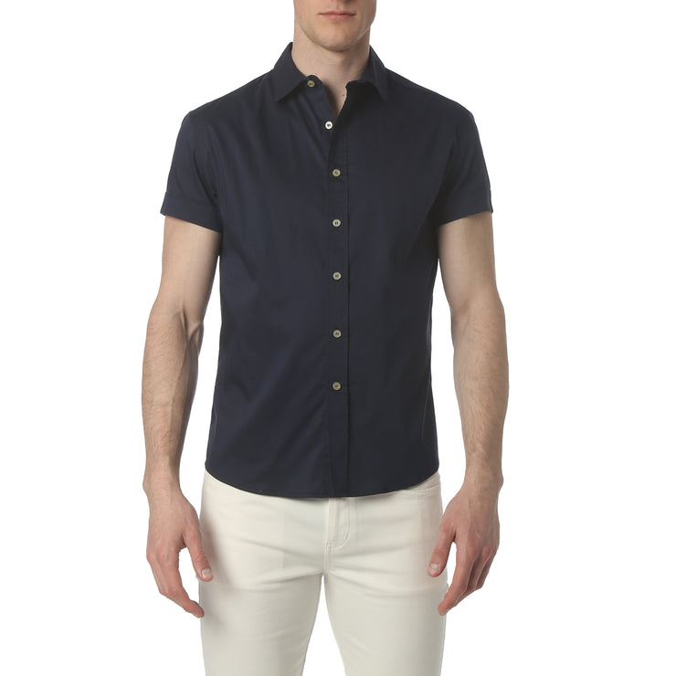 Navy Solid Stretch Poplin Short Sleeve Shirt - parke & ronen