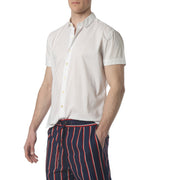 White Solid Stretch Poplin Short Sleeve Shirt - parke & ronen