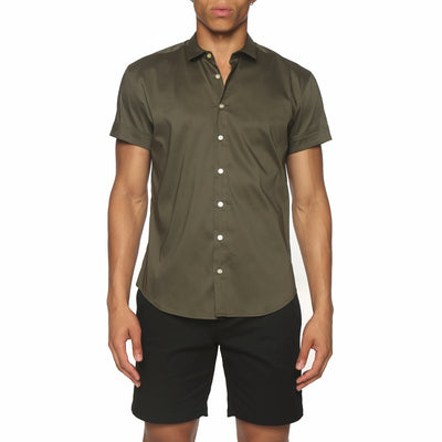 Army Solid Stretch Poplin Short Sleeve Shirt - parke & ronen