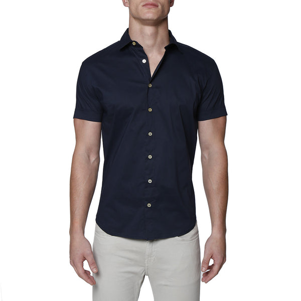 Solid Stretch Poplin Short Sleeve Shirt