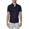 [parke & ronen] Solid Stretch Poplin Short Sleeve Shirt - navy (Thumbnail)