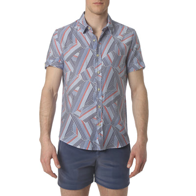 Dragon Stripe Blue Biscayne Shirt - parke & ronen