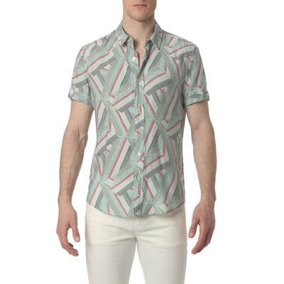 Dragon Stripe Green Biscayne Shirt - parke & ronen