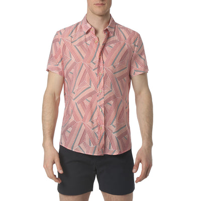 Dragon Stripe Red Biscayne Shirt - parke & ronen