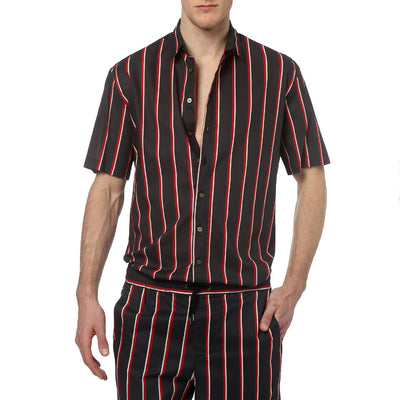 Black Country Club Stripe Oversize Shirt - parke & ronen