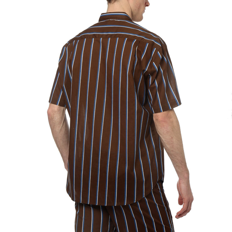 Brown Country Club Stripe Oversize Shirt - parke & ronen
