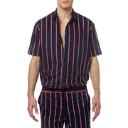 Navy Country Club Stripe Oversize Shirt - parke & ronen