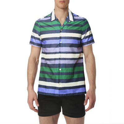 NEW - Green Polygraph Stripe Cabana Shirt - parke & ronen