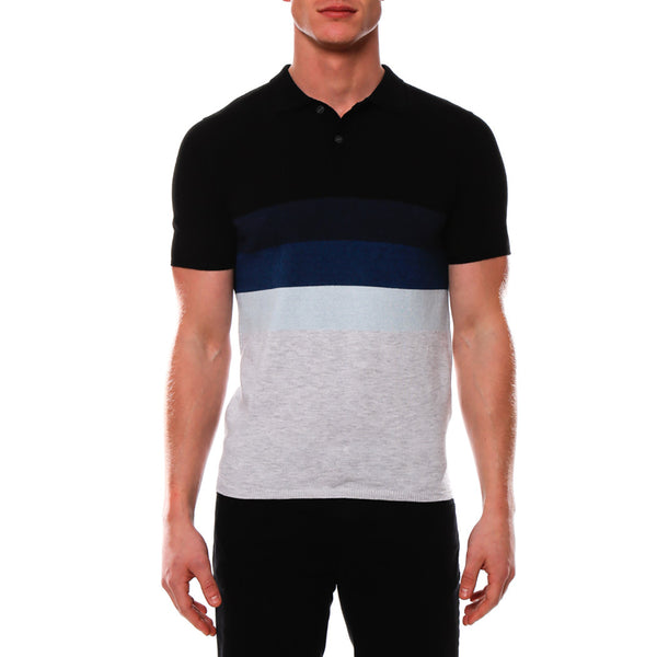 Bold Contrast Striped Sunset Knit Polo