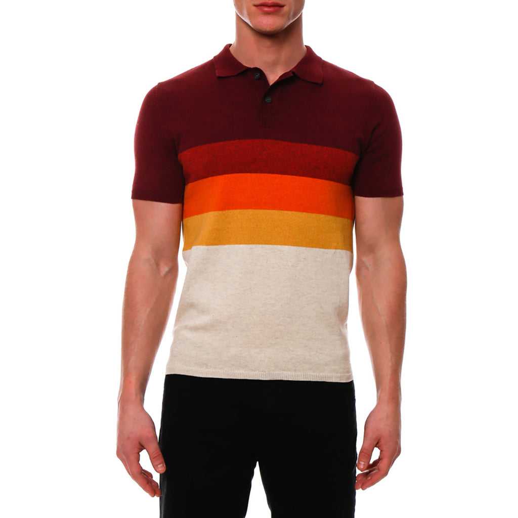 [parke & ronen] Bold Contrast Striped Sunset Knit Polo - sunset red