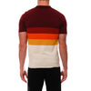 [parke & ronen] Bold Contrast Striped Sunset Knit Polo - sunset red (Thumbnail)