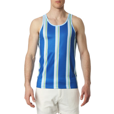 Blue Awning Stripe Tank Top - parke & ronen