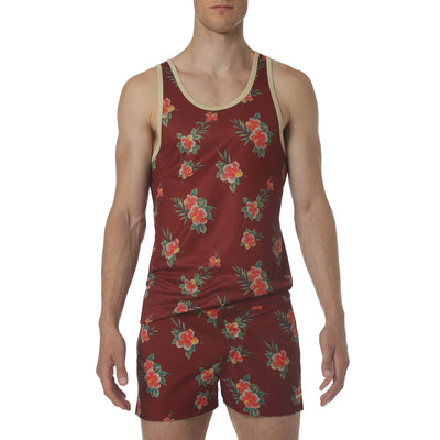 EXCLUSIVE- Spice Red Hibiscus Print Dri-Knit Mesh Tank - parke & ronen
