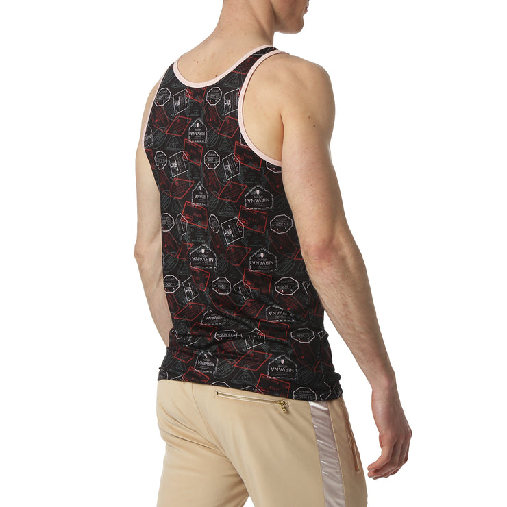 Passport Navy Print Tank Top - parke & ronen