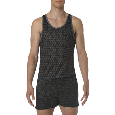 EXCLUSIVE Black/Grey Stella Print Dri-Knit Mesh Tank - parke & ronen