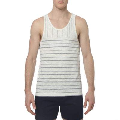 Navy Pencil Stripe Yarn Dye Tank-Top - parke & ronen