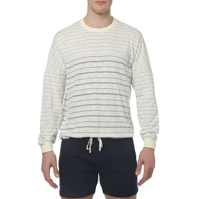 Navy Pencil Stripe Yarn Dye Jersey - parke & ronen