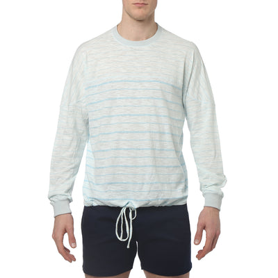 Robins Egg Pencil Stripe Yarn Dye Jersey - parke & ronen