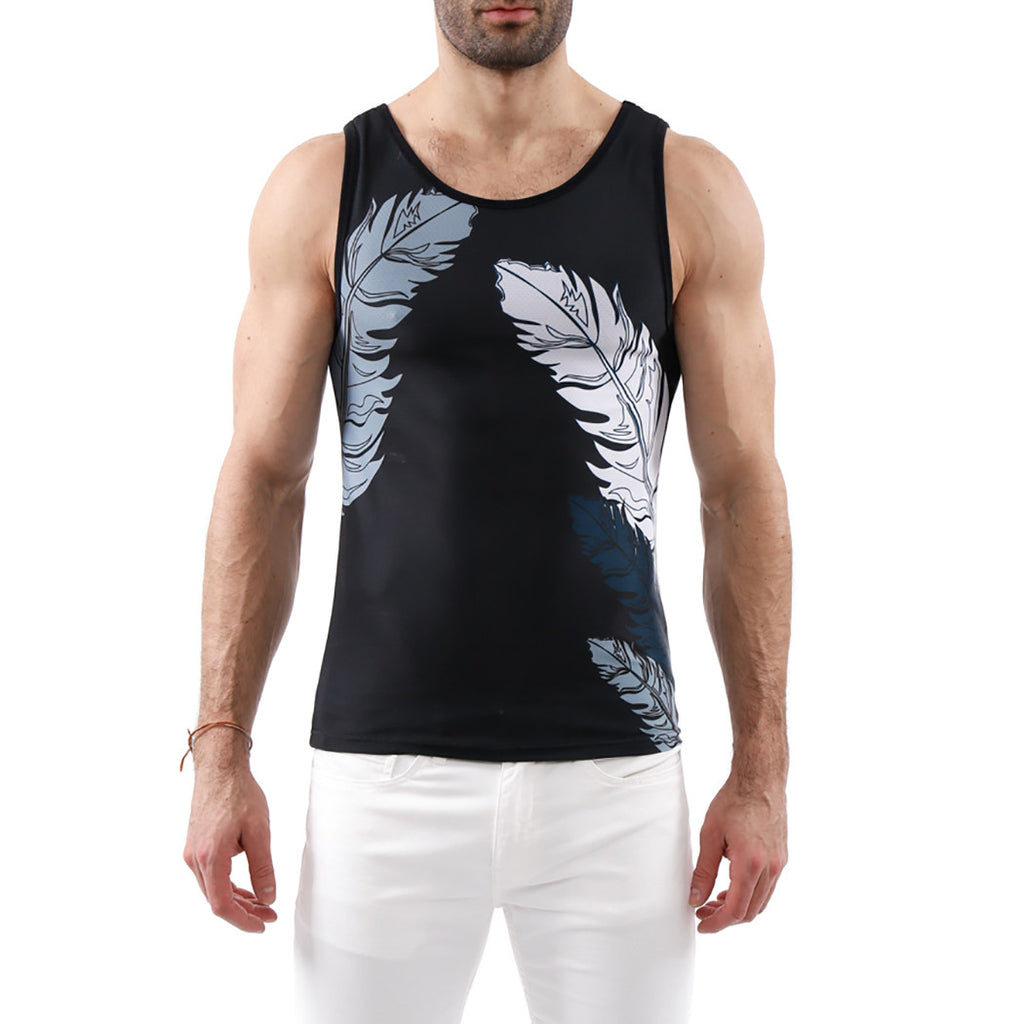 [parke & ronen] Feather Printed Tank Top - black