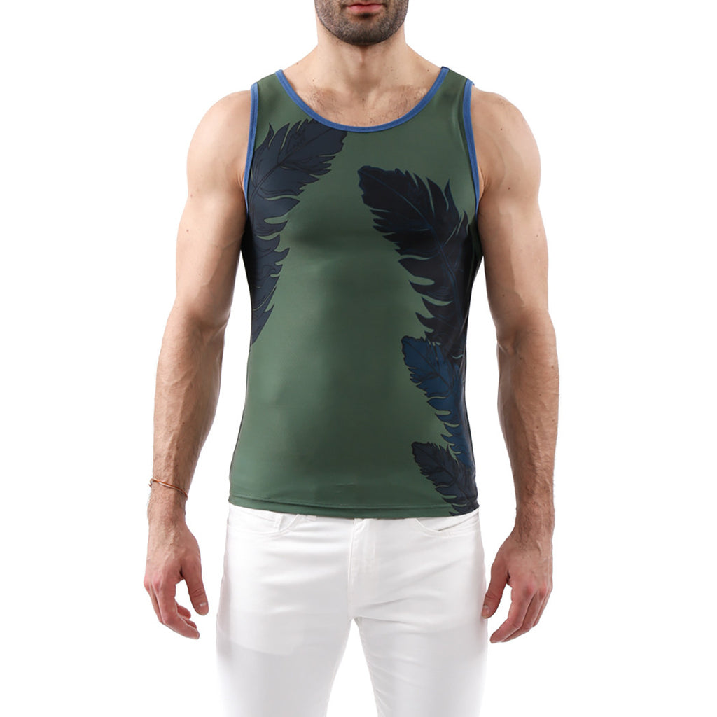 [parke & ronen] Feather Printed Tank Top - army