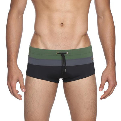 Army/Grey/Black Colorblock Corcovado Print Brief - parke & ronen