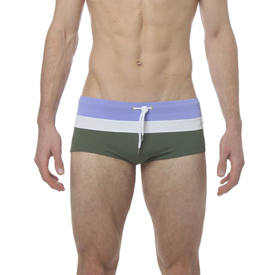 Lilac/White/Army Green Corcovado Colorblock Brief - parke & ronen