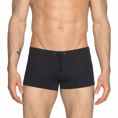 Black Solid Ibiza Square Cut Brief - parke & ronen