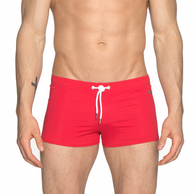 Red Solid Ibiza Square Cut Brief - parke & ronen