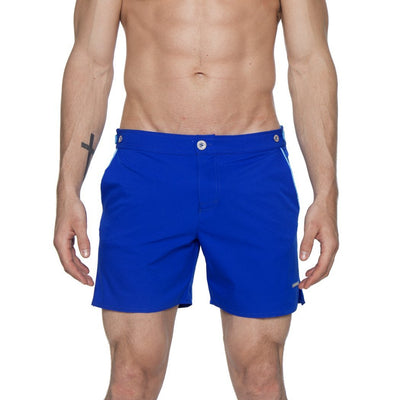 "Cerulean/Sea Blue 6"" Catalonia Solid Stretch Swim Short - parke & ronen"