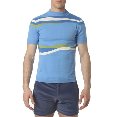 Blue Liquid Stripe Mock Neck - parke & ronen