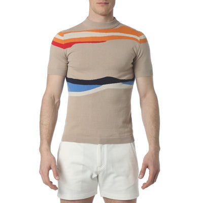 Stone Liquid Stripe Mock Neck - parke & ronen