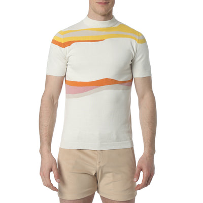 White Liquid Stripe Mock Neck - parke & ronen