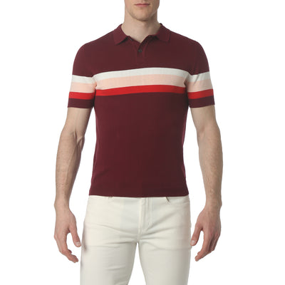 Burgundy Musketeer Stripe Polo - parke & ronen