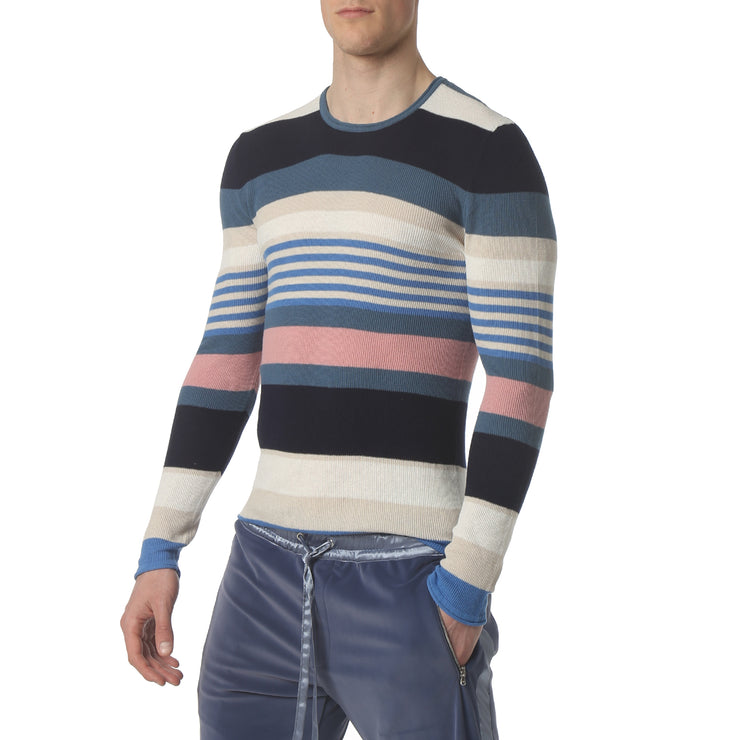 Blue Multi Stripe Long Sleeve Waffle Knit - parke & ronen