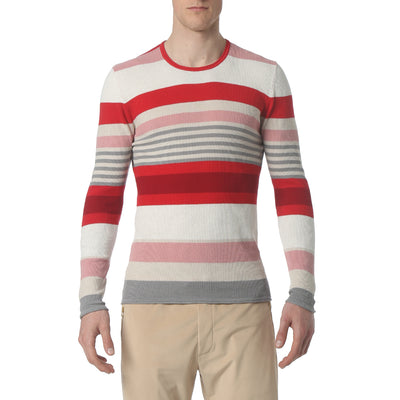 Red Multi Stripe Long Sleeve Waffle Knit - parke & ronen