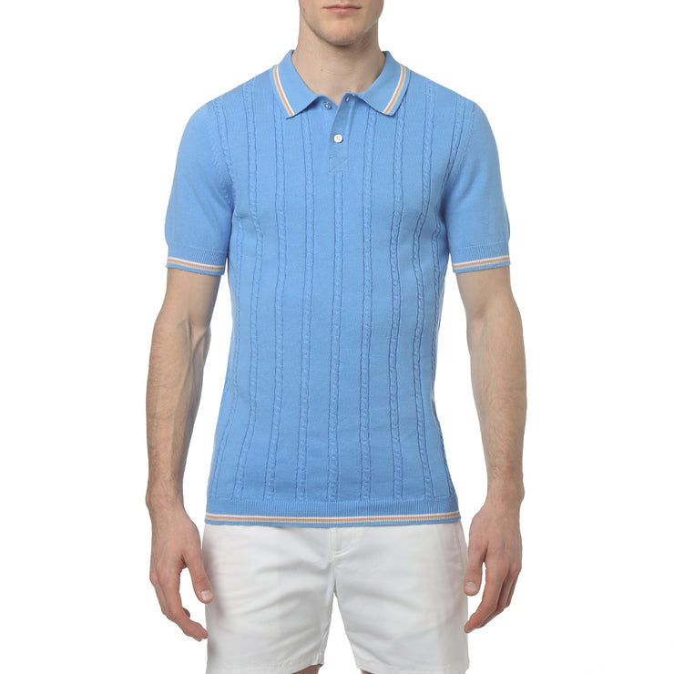 Blue Bell Bjorn Cable Knit Polo - parke & ronen