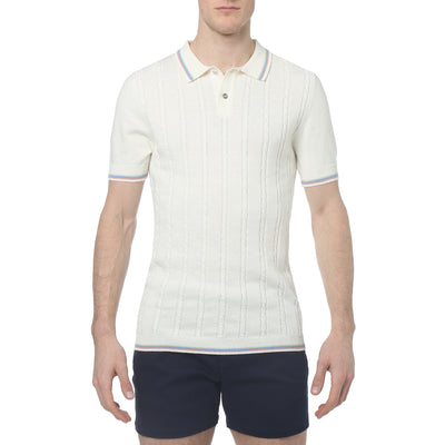 Soft White Bjorn Cable Knit Polo - parke & ronen