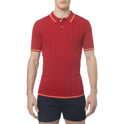 Vivid Crimson Bjorn Cable Knit Polo - parke & ronen