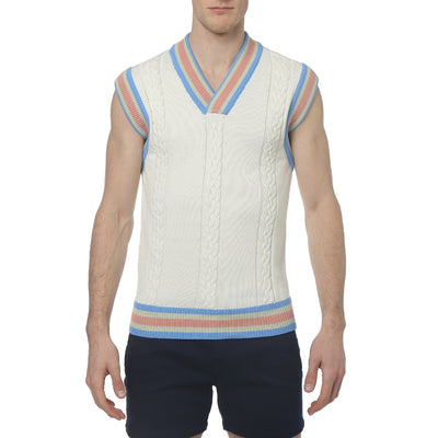 Soft White Cricket Cable Knit Vest - parke & ronen