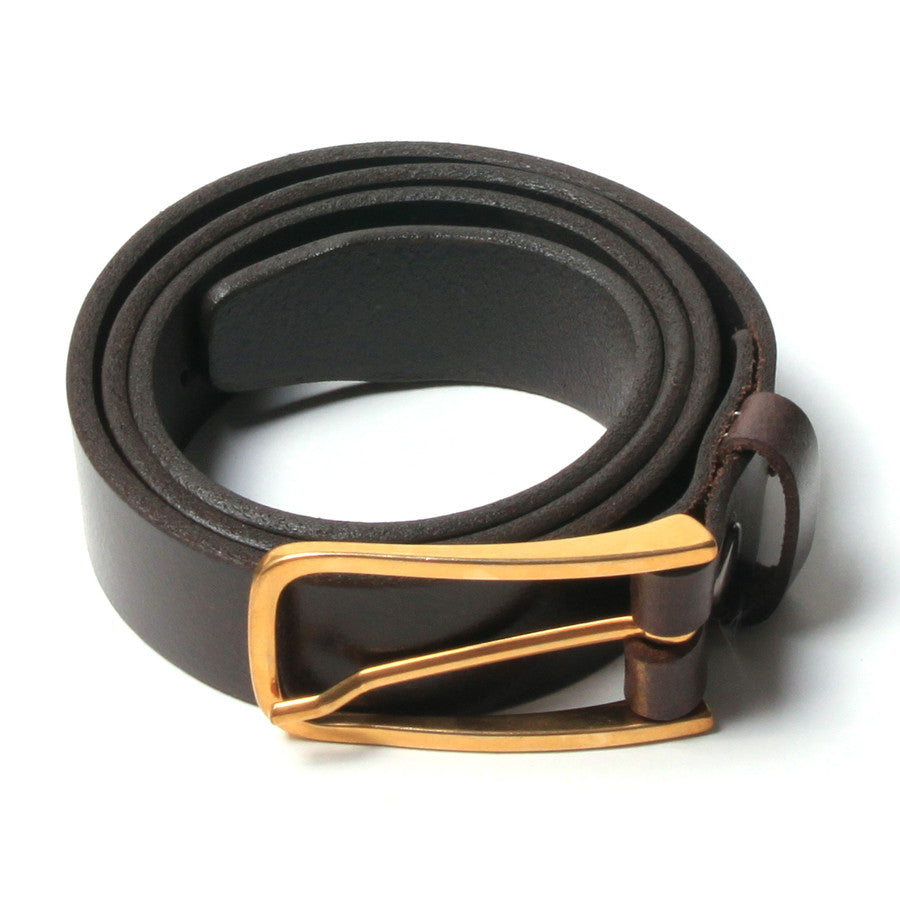 [parke & ronen] Leather Belt Gold - leather brown