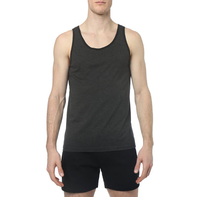 Charcoal/Black Contrast Color Piping Jersey Tank Top - parke & ronen