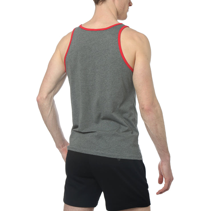 Deep Heather/Red Contrast Color Piping Jersey Tank Top